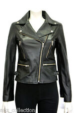 Sindy Black Ladies Womens Biker Style Real Chic Soft Sheep Nappa Leather Jacket