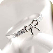 2 Color Korean Style Lovely Bowknot Full Crystal Rhinestone Finger Ring 1.6cm