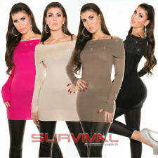 WOMENS NEW LACE LONG SLEEVE EVENING DRESS SEXY TOP SIZE 8-10 PARTY CLUB HOT