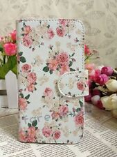 Nice Pink Retro Floral Flower Flip Pouch Leather Case for VARIOUS Samsung Mobile