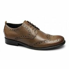 Ikon REACHER Mens Leather Lace Up Brogue Formal Wedding Smart Shoes Tan Brown