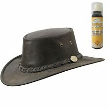 Barmah Kangaroo Crackle Brown Leather Foldaway Bush Hat & FREE Conditioner Spray