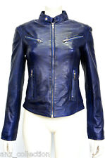 Joan Blue Ladies Woman's Short Vintage Real Sheep Washed Waxed Leather Jacket