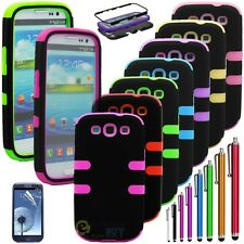 Pen+ Hybrid Impact Rubber Matte Hard Case Cover For Samsung Galaxy S3 III i9300
