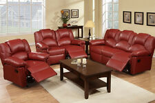Burgundy Leather Recliner Motion Sofa and Loveseat Set Chair Couch Reclining