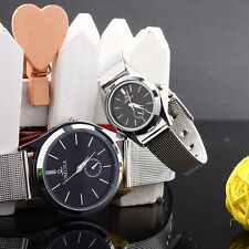 New Luxury Couple Lover Stainless Steel Mens Womens Quartz Wrist Watch Watches