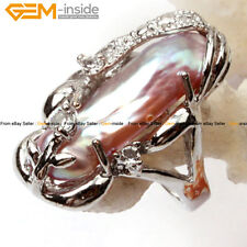 Fashion Gift 10x20mm Pearl White Gold Plated Ring US#6-#9 , Size Send By Random