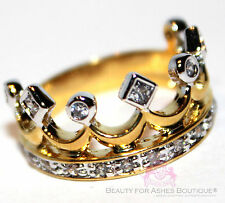 BEAUTY FOR ASHES® ROYALTY PRINCESS CZ CLEAR 2TONE GOLD PLATED CROWN OF LIFE RING