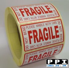 Red Fragile Handle With Care Do Not Bend Labels On Roll, 70x40, FRA-LP-ROLL
