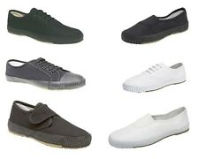 Mens Womens Boys Girls Canvas School Lace-Up/Slip-On Plimsolls Shoes Black/White