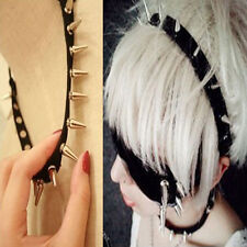 Gothic Punk Stud Rivet Spike Elastic Collar Necklace Bracelet Headband Hair Band