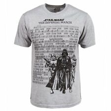 Mens Licensed Star Wars Imperial March T Shirt Grey NEW Darth Vader Stormtrooper