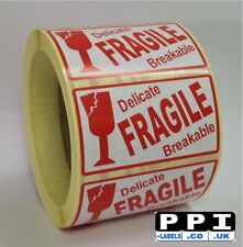 Red Glass Picture Fragile Delicate Breakable Labels On Roll, 70x40, FRA-10-ROLL