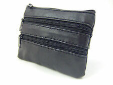 NEW MENS WOMANS REAL GENIUNE LEATHER COIN PURSE COIN WALLET MONEY POUCH 4 ZIPS