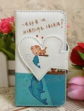 Hot Sweet Love & Heart Cat Kiss Fish Flip Leather Case for Apple Samsung Mobiles
