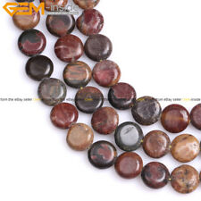 "Genuine Picasso Jasper Agate Gemstone Beads Natural Stone Strand 15"" Button Coin"