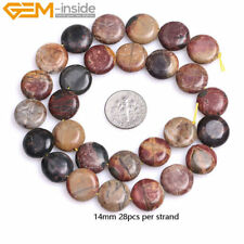 "Natural Coin Button Picasso Jasper Agate Gemstone Beads 15"" For Jewelry Makeing"