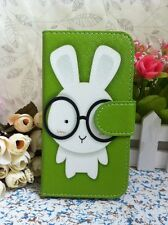 Rabbit Baby & Glasses Card Slots Flip Pouch Leather Case for LG Huawei Lenovo