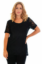 New Womens Top Ladies Plus Size Lace Lined Floral Short Sleeves Party Nouvelle