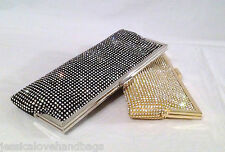UK-New all glitz crystals Mesh long evening bag bridal party clutch bag #8030