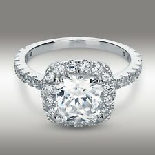 14K White Gold Cushion Cut Engagement Ring 3.35 Carat Halo w/ Accents size 5-10