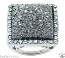 QVC Simulated Platinum Tone Drusy Quartz Ring Stainless Steel by Design J272086