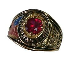14kt Yellow Gold gp Military Navy Simulated Red Ruby Mens Ring Size 9-14