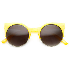 Pastel Color Half Frame Round Horned Rim Cateye Sunglasses