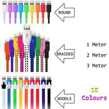 Braided / Flat / Coloured Charger Cable for iPhone 5 5S 5C 6 6 Plus iPod iPad