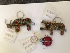 Grass Roots Beaded Handcrafted NEW Keychains, Hippo,Rhino,Ladybug ! Great Gift!