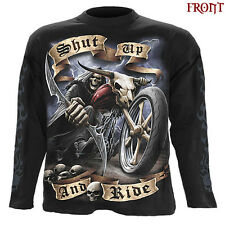 Spiral Direct SHUT UP AND RIDE Long Sleeve T-shirt/Biker/Tattoo/Skull/Reaper/Top