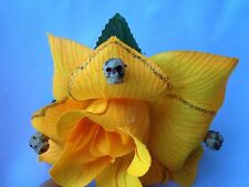 SKULLS HAIR CLIP WITH YELLOW FLOWER FOR DAY OF THE DEAD