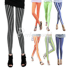 Skinny Women Cotton Black White Vertical Zebra Striped Leggings Tights Pants New