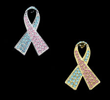 LIGHT BLUE PINK RIBBON PREGNANCY INFANT LOSS MISCARRIAGE AWARENESS BROOCH PIN