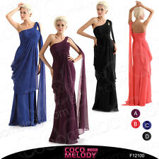 One Shoulder Formal Evening Dress Bridal Party Gown Long Bridesmaid Dresses New