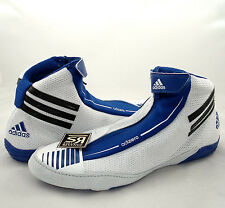 New 7.5 Adidas adizero SYDNEY Wrestling Shoes White Blue Fighting Suede Mens mma