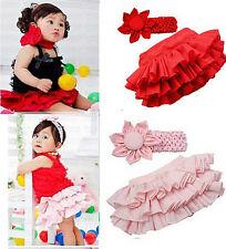 Fashion Baby Girls Ruffle Bloomers TuTu Skirt with Flower Headband set outfit