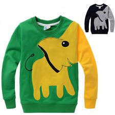 Kids Boys Girls Colorblock Elephant Animal Printed Sweater Tops T-shirts Age 3-8