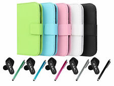 PU Leather Wallet Case Cover,Cable Tie&Stylus Pen For Samsung Galaxy Ace 3 S7270