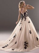 New black Applique Bridal Wedding Formal Evening Dress Ball/Prom Gown Stock 6-16