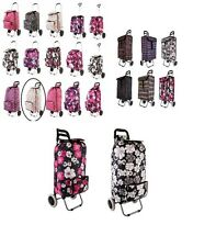 Funky Wheeled Shopping Trolley Folding Festival Essential Luggage Bag Floral NEW