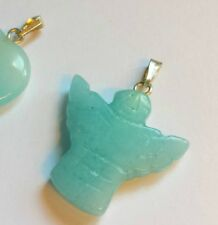 """amazonite pendant necklace 18"""" silver plated chain soothing heart angel gemstone"""