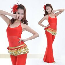 Belly Dance Belt Dancing Hip Scarf Skirt Wrap Costumes Velvet Golden Coins&Pants
