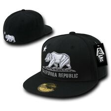 Black California Republic Bear Star Vintage Fitted Flat Bill Cap Caps Hat Hats