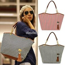 Women Stripes Canvas Tote Single Shoulder Bag Tassel Chain Shopping Handbag EA77