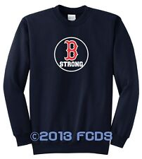 B Strong Boston Marathon Navy Fleece Sweat Shirt Tribute to Runners Sm to 4XL
