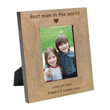 Best Mum In The World Wood Photo Frame. Engraved Mothers Day Gift