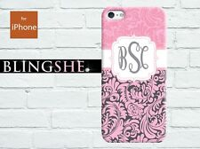 Personalised pink damask Monogram hard case for iPhone 4 4s 5 5s 5c mn518