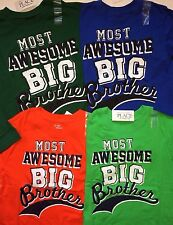 "~NEW~ ""Most Awesome BIG Brother"" Boys Graphic Shirt 4 4T 5-6 7-8 10-12 14 Gift!"