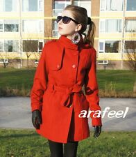Red Coat Button Jacket Trench Coat Military Sexy Belt Winter Christmas Arafeel